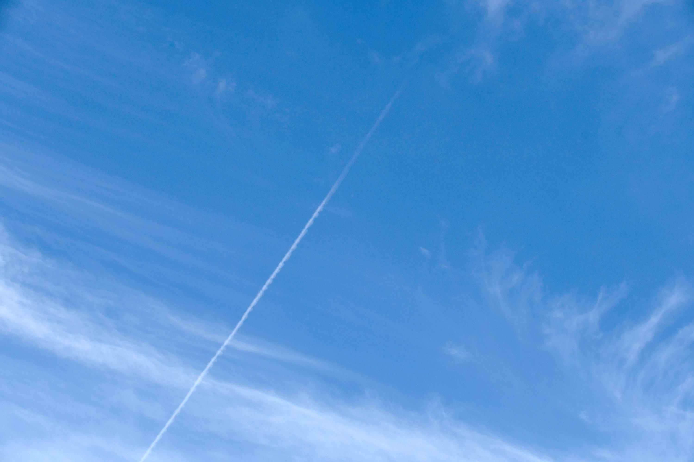 夏空に1本の飛行機雲